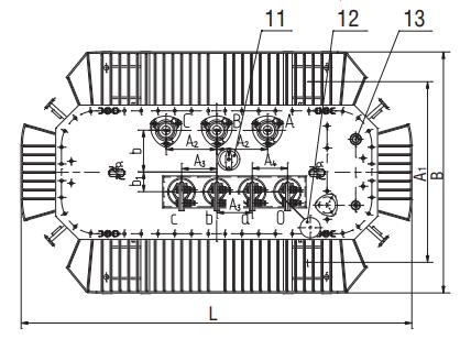 Чертеж трансформатора ТМГ12  и условное обозначение элементов вид сверху