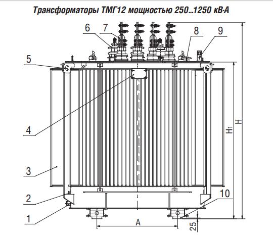 Чертеж трансформатора ТМГ12  и условное обозначение элементов
